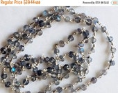 ON SALE 55% Labradorite Faceted Rondelle Beads in 925 Silver Wire Wrapped Rosary Style Chain Labradorite Beaded Chain, By Foot