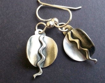 Fine Silver Small Dangles - PMC Earrings - Silver Disk Earrings
