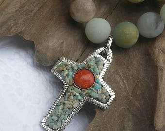 PMC Cross Pendant - Crushed Turquoise and Red Coral Cross - Ammonite Beaded Cross Necklace - Fine Silver Cross
