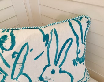 Groundworks Bunny Hutch Turquoise on Both Sides Designer Pillow Cover with Choice of Piping - Square, Lumbar and Euro Sizes