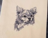 Long-haired Chihuahua Tea Towel | Embroidered Towel | Personalized Kitchen Towel | Dog Kitchen Towel | Embroidered Tea Towel |Dog Lover Gift
