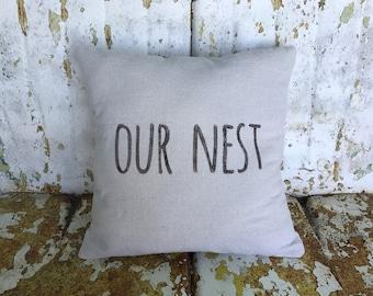 Our Nest Pillow Square Cotton Farmhouse Style Vintage Printed Throw Pillow Farmhouse Cottage Rustic Home Decor