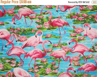 ON SALE Hot Pink and Aqua Flamingo Print Pure cotton Fabric--One Yard