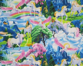 Colorful Unicorn Scenic with Rainbows Print Pure Cotton Fabric --By the Yard