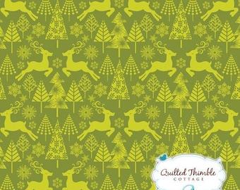 Hip Holiday by Jospehine Kimberling - Reindeer Stroll Green (114.103.04.2) - 1 Yard