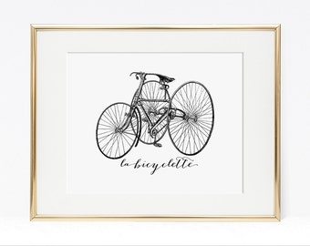 La Bicyclette Digital Art Print, French Bicycle, Black & White Art Print, Vintage Style Art Print, DIY Printable, INSTANT DOWNLOAD