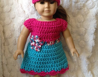 Pink doll dress hat set with flower detail for America girl bitty baby reborn next generation crochet dress clothing