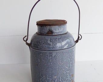 Vintage  Grey Graniteware  Cream Can