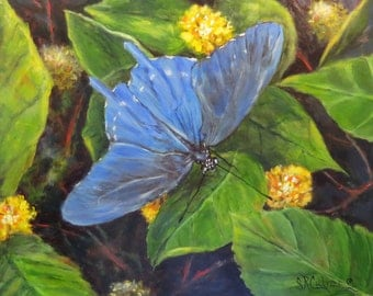 Butterfly blue swallow flowers insect art Giclee CANVAS PRINT of original oil painting by Sandra Cutrer