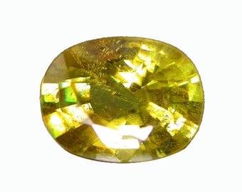 SPHENE TITANITE (33124) * * * * * Fiery Rainbow!  8 x 6mm Sphene Titanite w/ Rainbow Flash - Faceted
