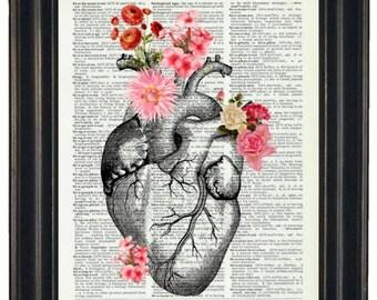 BOGO 1/2 OFF Heart Illustration with Flowers  A HHP Original Design Anatomy Art Dictioanry Prints