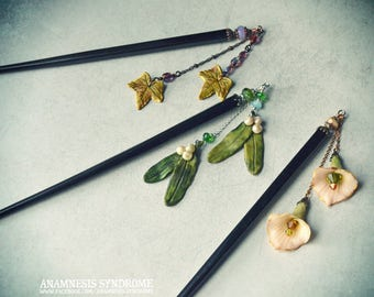 Witchy gothic Hair sticks, black wood, cold porcelain flowers or leaves, Czech beads