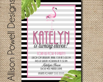 Pink Flamingo Birthday, Tropical Party,  Birthday Party Invitation - Print your own