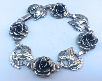Vintage Sterling Silver Danecraft Rose and Leaves Bracelet