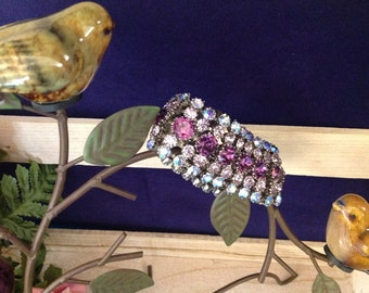 Purple & Blue Wide Rhinestone Bracelet