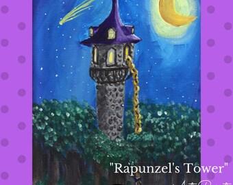 "Fairy Tale art, ""Rapunzel's Tower"" --Signed Photographic Print of original artwork"