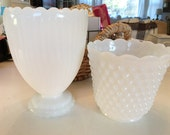 Milk Glass Vases, Hobnail and Ribbed, Cottage and Farmhouse Decor, Lot of 2