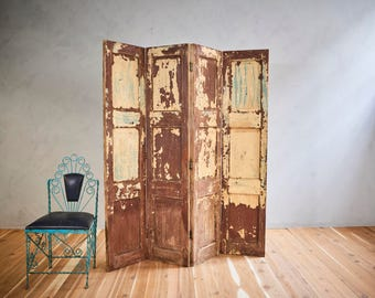 Vintage Distressed Painted Room Divider Screen Wood Headboard
