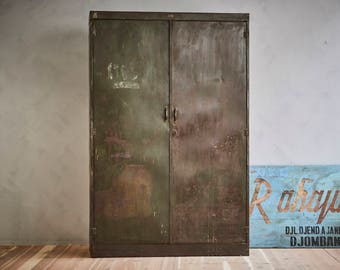 Large Vintage Metal Industrial Cabinet Indonesian Steel Military Storage Locker Bookcase