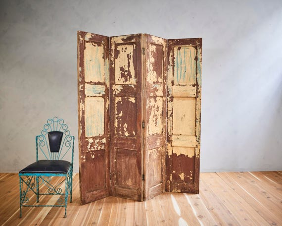 Vintage Room Divider Screen Wood Headboard Distressed