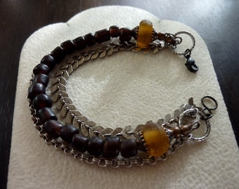 Dark Brown Modern Indo-Pacific and Chunky Amber Recycled Glass Beads with Chevron and Vintage Retro Style Multi Chain Bracelet, Multi Strand