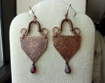 Antique Copper Coiled Swirly Hoop Triangles with Smooth Garnet Teardrop Earrings, Rustic, Boho, Bohemian, Chandelier, Dangle, Tribal