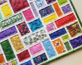 """Small Confetti Quilt for 18"""" Doll, Table Topper, or Wall Hanging"""