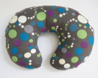 Boppy Nursing Pillow Cover:  Grey with White, Green, and Teal Dots fleece