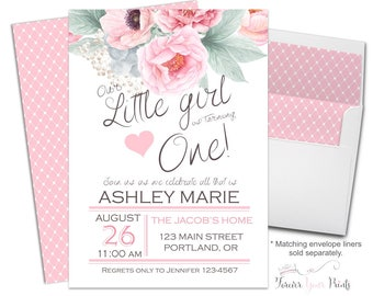 1st Birthday Invitation Girl, Floral 1st Birthday, Girls 1st Birthday, Pink and Mint Green Invitation, Garden Party, Printed Invitations