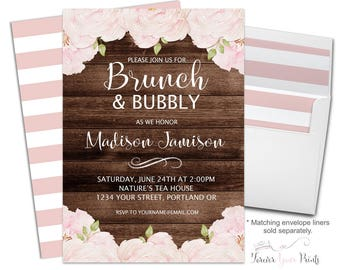 FLORAL Brunch and Bubbly Invitation Printable or Printed - Floral Brunch and Bubbly Invite - Bridal Luncheon Invitation - Bridal Invitation