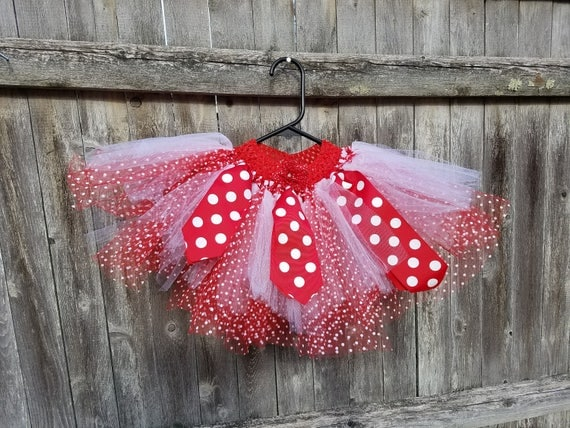 "Red and white polka dot tutu...""Ode to a Mouse"" Mickey or Minnie"
