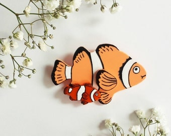 Funny Swimmers Wearable Art Brooch by Winnifreds Daughter