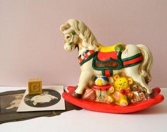 Rocking Horse Coin Bank. Baby Nursery Decor. Vintage Kid's Room Display. Nostalgic Edwardian or Victorian Style Christmas Decoration.