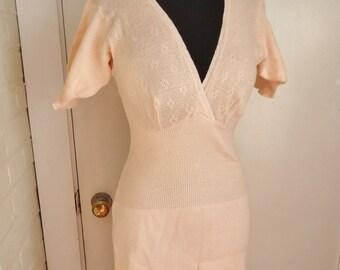 Peach Cotton Vintage 1940's WWII Women's Nightgown Dress Slip S M