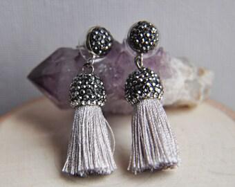 Tassel Earrings, Festival Earrings, Bohemian Style, Crystal Earrings, Everyday Earrings, Boho Earrings, Gray Tassel Earrings, Pave Crystal