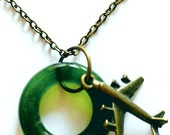 Simple Upcycled Wine Bottle Necklace with Copper Plane Charn- Charm City Colection