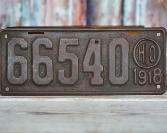 Antique 1918 Ohio license plate