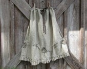 linen gathered skirt in heavier dark natural flax with ruffles and roses ready to ship