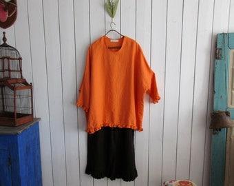 linen tunic blouse top contemporary in mango gold ready to ship