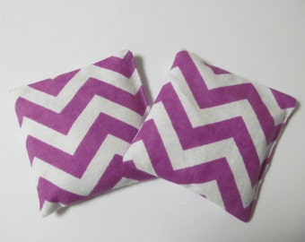 Set Of 2 Rice & Lavender Hand Warmers/Purple Chevron