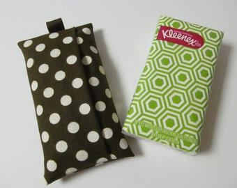 Tissue Case/Gold Lame White Dots On Brown