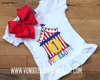 Birthday circus big top Bow Number Personalized Shirt 1st Birthday 2nd 3rd 4th 5th 6th 7th 8th 9th Girl Baby Tank Short Long Sleeve