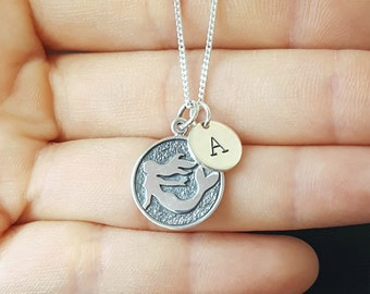 Sterling Silver Mermaid Necklace, Personalized Jewelry, Initial Necklace, Girl's Gift, Birthday Gift