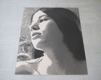 Vintage print portait/ black & grey print of girl from seventies/ abstract portrait print