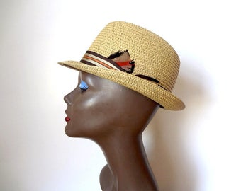 Vintage 1950s Straw Derby Hat by Leone Cappelli