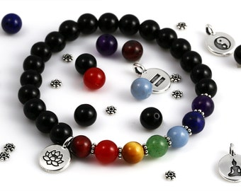 Yoga Bracelet Kit. DIY Bead Kit. Black Onyx Beads. Chakra Gemstones. Choose Your Charm. Stretch Bracelet.