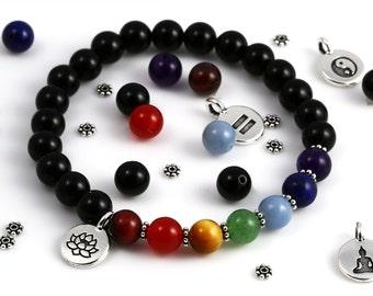 Yoga Bracelet Kit. DIY Bead Kit. Black Onyx Beads. Chakra Gemstones. Choose Your Charm. Stretch Bracelet.