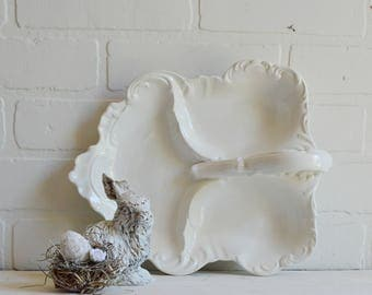Ironstone Triple Serving Dish, Portuguese Serving Dish, White Serving Dish, Triple Leaf Dish, Candy Dish, Nut Dish, Serving Dish, Cottage