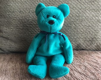 Ty Beanie Baby Teddy Teal New Face-Rare