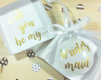 Will you be my Bridesmaid Ornament, Personalized Bridesmaid gift, Bridesmaid Proposal, Maid of Honor Gift, Will You Be My Flower Girl